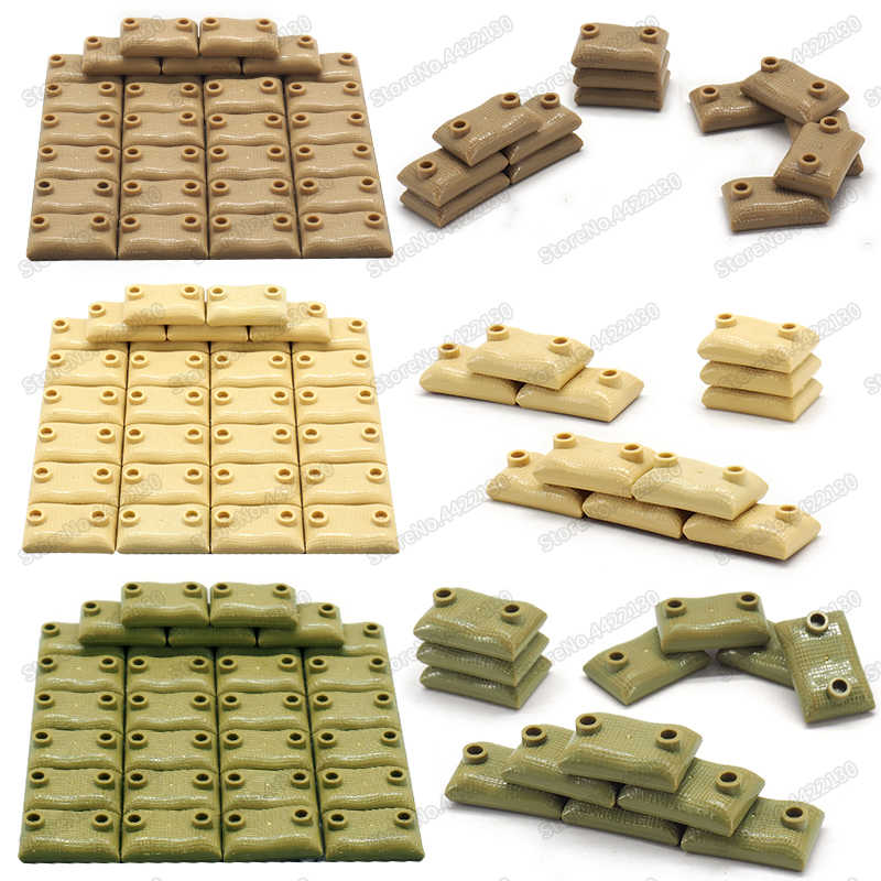 Special police Building Blocks Sandbag model DIY city Obstacle point military ww2 war Scenes Figures Weapons Moc christmas toys