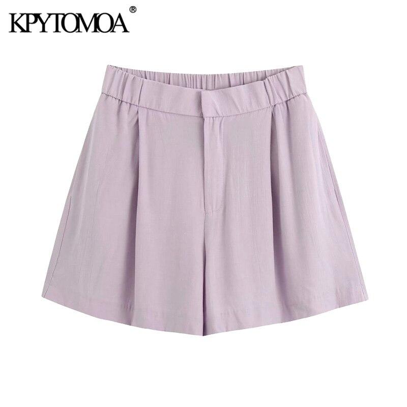 KPYTOMOA Women 2020 Chic Fashion Loose Fitting Shorts Vintage High Elastic Waist Zipper Fly Female Short Pants Pantalones Cortos