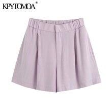 KPYTOMOA-Pantalones Cortos holgados con cremallera con cintura elástica para mujer, Shorts femeninos, a la moda, Estilo Vintage, 2020