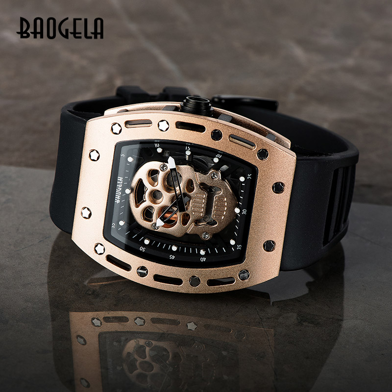 BAOGELA New Skull Men Watches Military Silicone Brand Pirate Hollow Watch Men Luminous Sports Wristwatch Relogio Masculino
