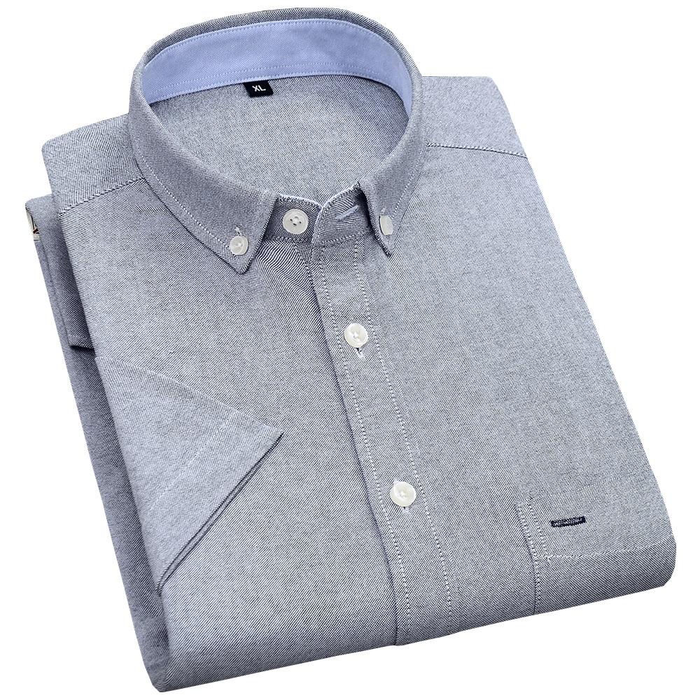 Men's Summer Pure Cotton Oxford Shirts Casual Slim Fit Design Short Sleeve Fashion Male Blouse Shirt 3