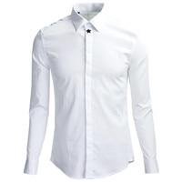 Fashion Metal Star Design Shirt Men Chemise Homme 2019 Luxury Brand White Mens Dress Shirts Business Wedding Tuxedo Shirt Male