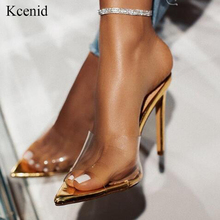 Gold Slippers Mules Slides Summer Shoes Party High-Heels Transparent Sexy Kcenid Fashion