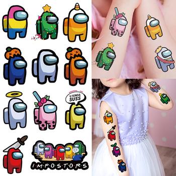 Gra animowana tymczasowa naklejka tatuaż wodoodporna fałszywy tatuaż duże rozmiary tatuaże ręcznie stóp Tatouage dla dzieci dzieci chłopiec tanie i dobre opinie YAAAS Among us Super hero