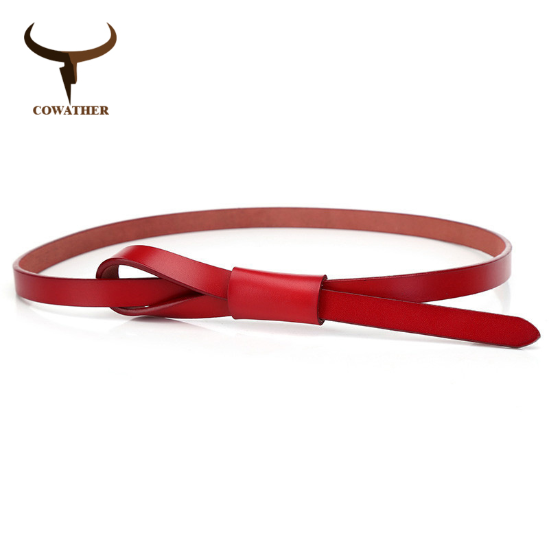 COWATHER Cowhide Women Belt Fashion Design Thin Cow Leather Female Strap Golden Buckle  Jeans Dress Belt  New Arrival Waistband