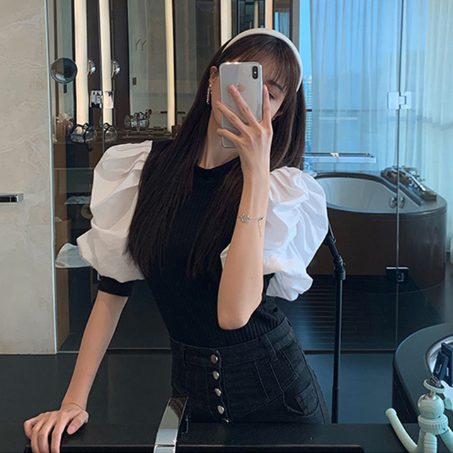 Chic Puff Sleeve Knitted Blouse Women Summer 2020 New Fashion Stretch Knit White Black Shirt Patchwork Blouse Ruffles Tops 6