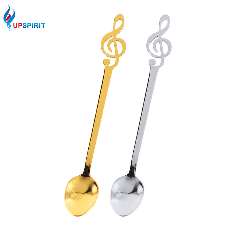 Upspirit Musical Note Shape Stainless Steel Coffee Spoon Creative Tea Ice Cream Spoon Gold Flatware For Bar Dining Dessert Spoon