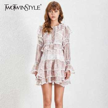 TWOTWINSTYLE Print Hollow Out Women Dress High Waist O Neck Ruffles Flae Sleeve Mini Dresses Female Spring 2019 Fashion New - DISCOUNT ITEM  39% OFF All Category