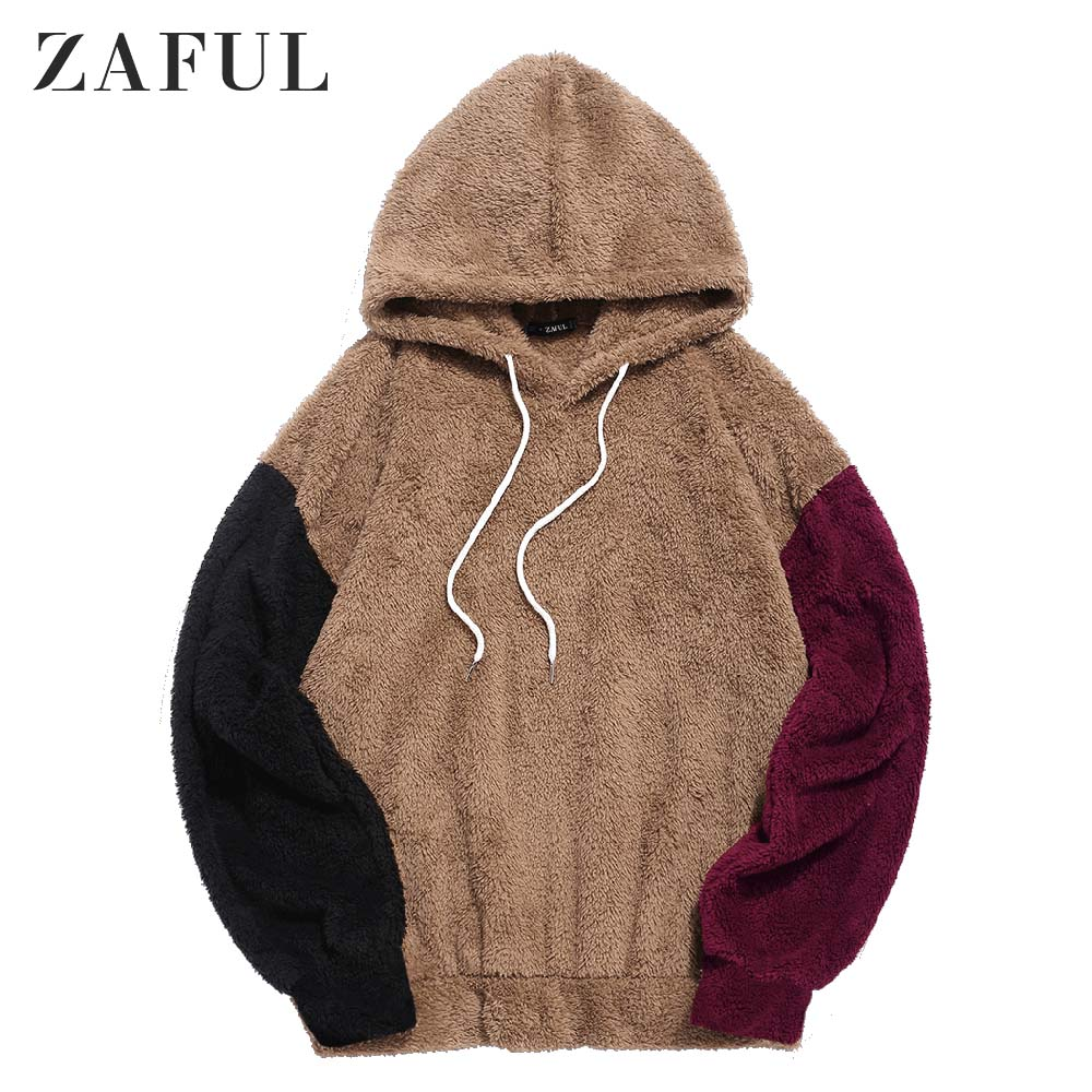 ZAFUL Autumn Men Color-Blocking Splicing Drawstring Fuzzy Hoodie Long Sleeve Contrast Color Sweashirts Outdoor Daily Pullovers