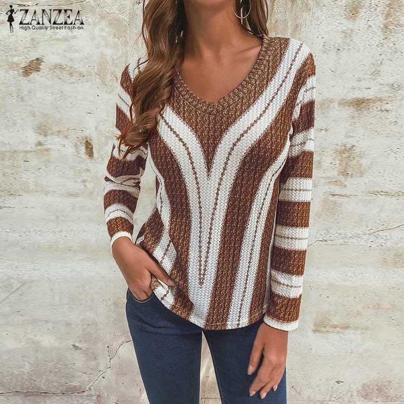 Autumn Fashion Knitted Pullover ZANZEA Long Sleeve Striped Thin Sweater Sexy V Neck Jumper Women Casual Knitwear Pull Femme Tops