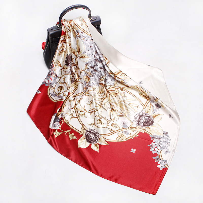 Fashion And Comfort 2020 Spring And Summer Women's Headscarf Matching Color Silk Headscarf Scarf 90*90 Cm Square Scarf Red Women