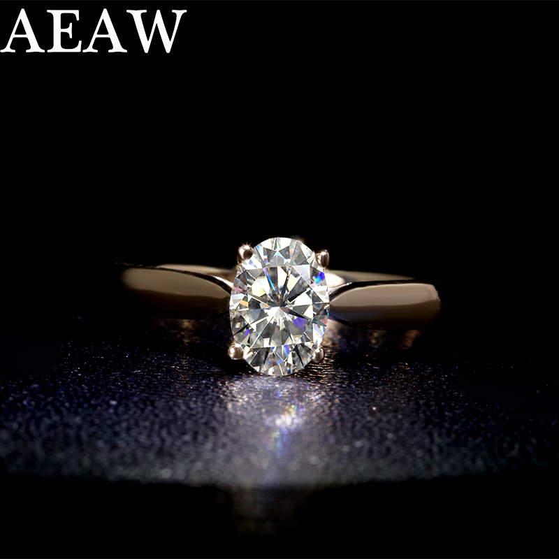 10K White Gold 925 Sterling Silver Ring Carat  1ct GH Color 18K Diamond Ring Jewelry Moissanite Ring