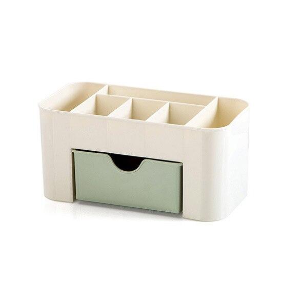 Bleu vert en plastique maquillage organisateur maquillage brosse boîte de rangement avec tiroir coton-tige bâton mallette de rangement escritori
