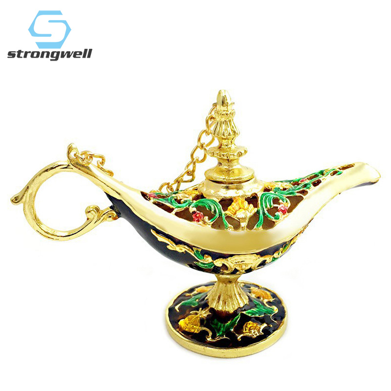 Strongwell Traditional Hollow Aladin Lamp Figurines Miniatures Tea Pot Genie Lamp Vintage Retro Toy For Home Decor Ornaments|Figurines & Miniatures| |  - title=