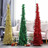 Christmas Tree Shining Star Sequin Garland Christmas Ornament Pulling Flower Tree Home Xmas Decoration