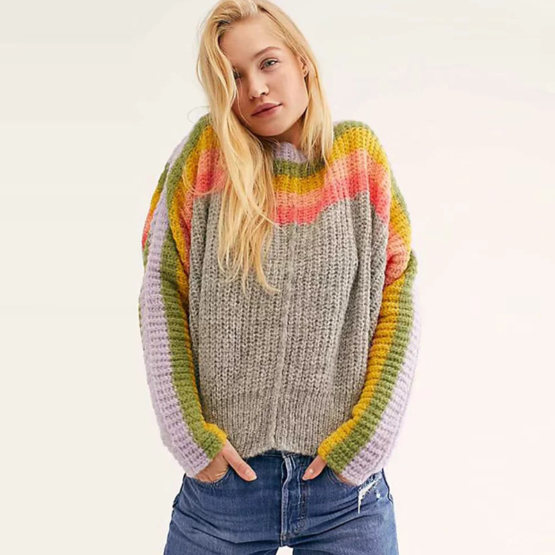 Image 2 - TEELYNN oversize Rainbow stripes sweater pullovers long sleeve women sweater 2019 autumn winter warm boho sweaters loose sweaterPullovers   -