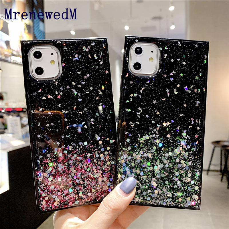 MrenewedM Luxury Square Shockproof Bling Silicone Case For iPhone 11 Pro SE2 6S 7 8 Plus XR XS Max Non-slip Bumper Glitter Cover