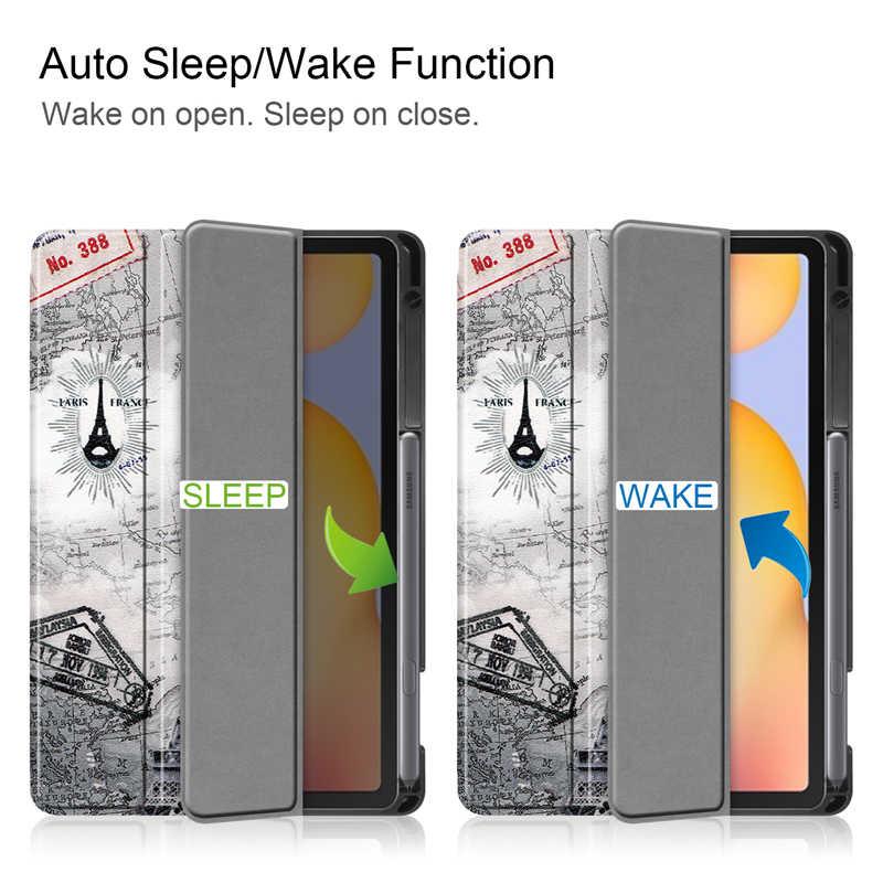 สำหรับ Samsung Galaxy Tab S6 Lite 10.4 นิ้ว SM-P610 SM-P615 2020 พร้อมดินสอ HolderLeather ฝาครอบกันกระแทกแท็บเล็ต