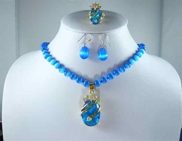 תכשיטי פרל סט קסם כחול jades/אופל שרשרת + כחול זירקון תליון עגיל טבעת משלוח חינם