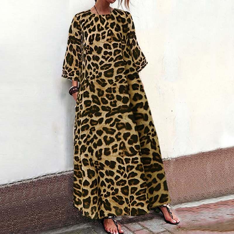 Frauen Maxi Lange Kleid Celmia 2019 Plus Größe Mode Leopard Druck Lässig Strand Party Kleid Lose Vintage Urlaub Vestidos S-5XL