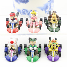 6pcs/set PVC Action Figure Super Mario Bros Kart Pull Back Car Mario Luigi Yoshi Toad Mushroom Mini Collection Model Toys Gifts