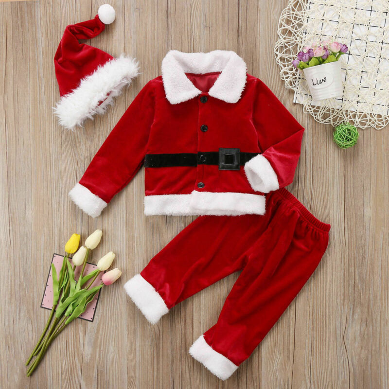 De feuiles Newborn Baby Christmas Outfits Long Sleeve T-Shirt Tops with Striped Pants and Hat 3PCS Xmas Clothes Set