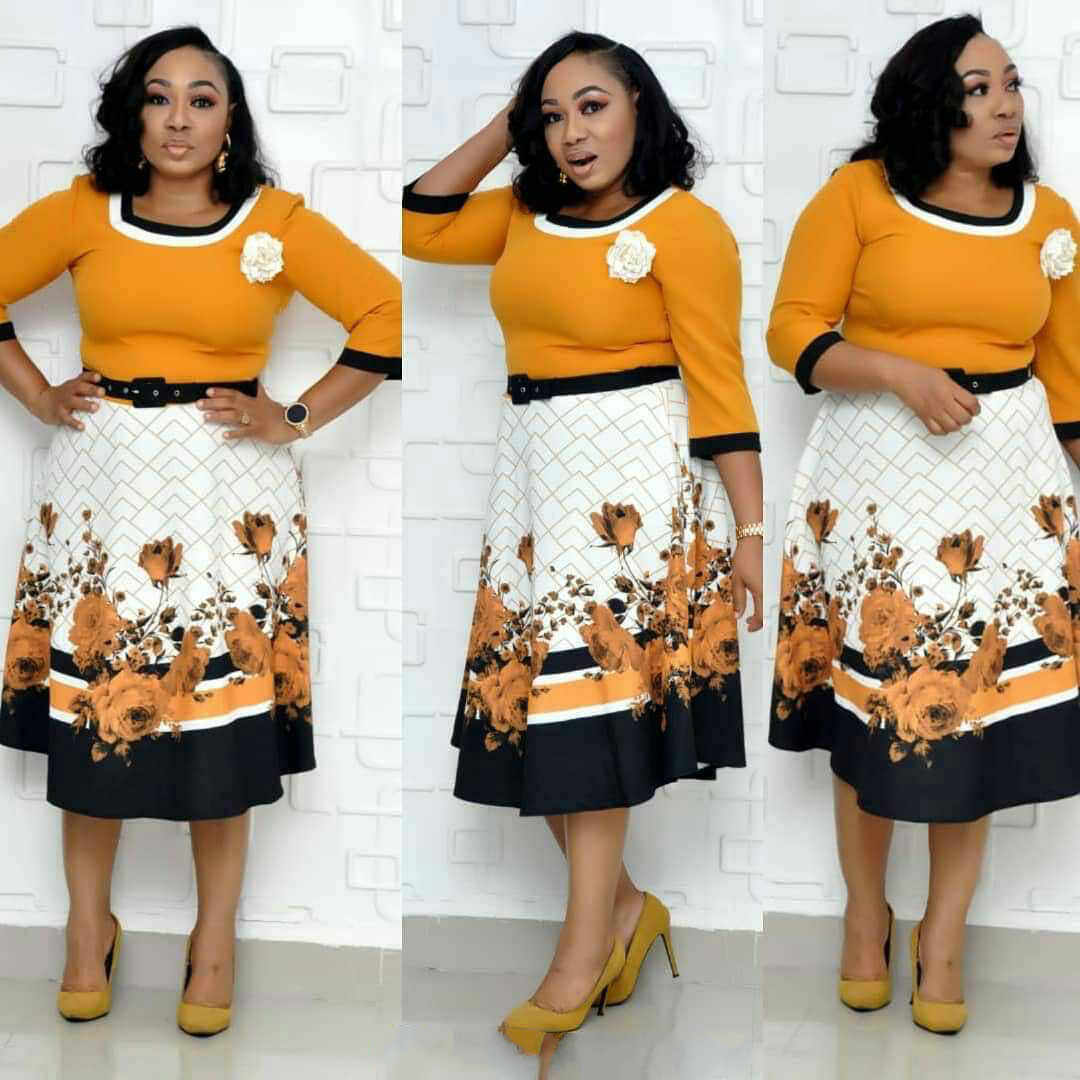 2019 nuovo arrivo elegent autunno africano di stampa delle donne di più il formato al ginocchio-lunghezza del vestito L-3XL