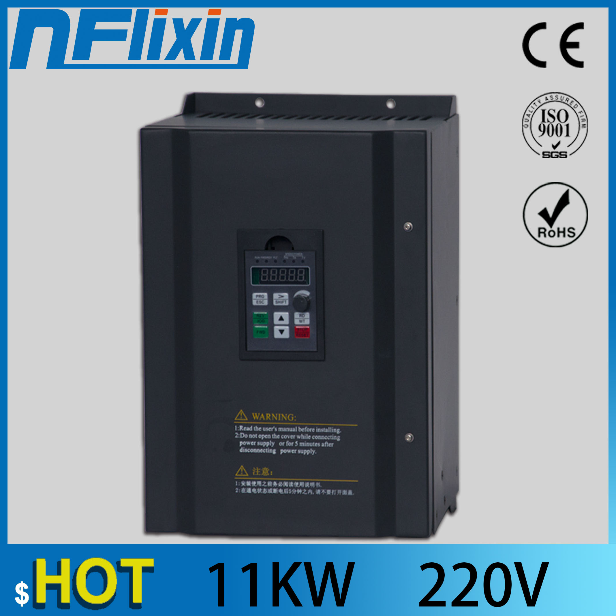 NF9100 Vector Control Frequency Converter DC 200V-400V to Three-phase 220V 11KW Solar pump inverter with MPPT control