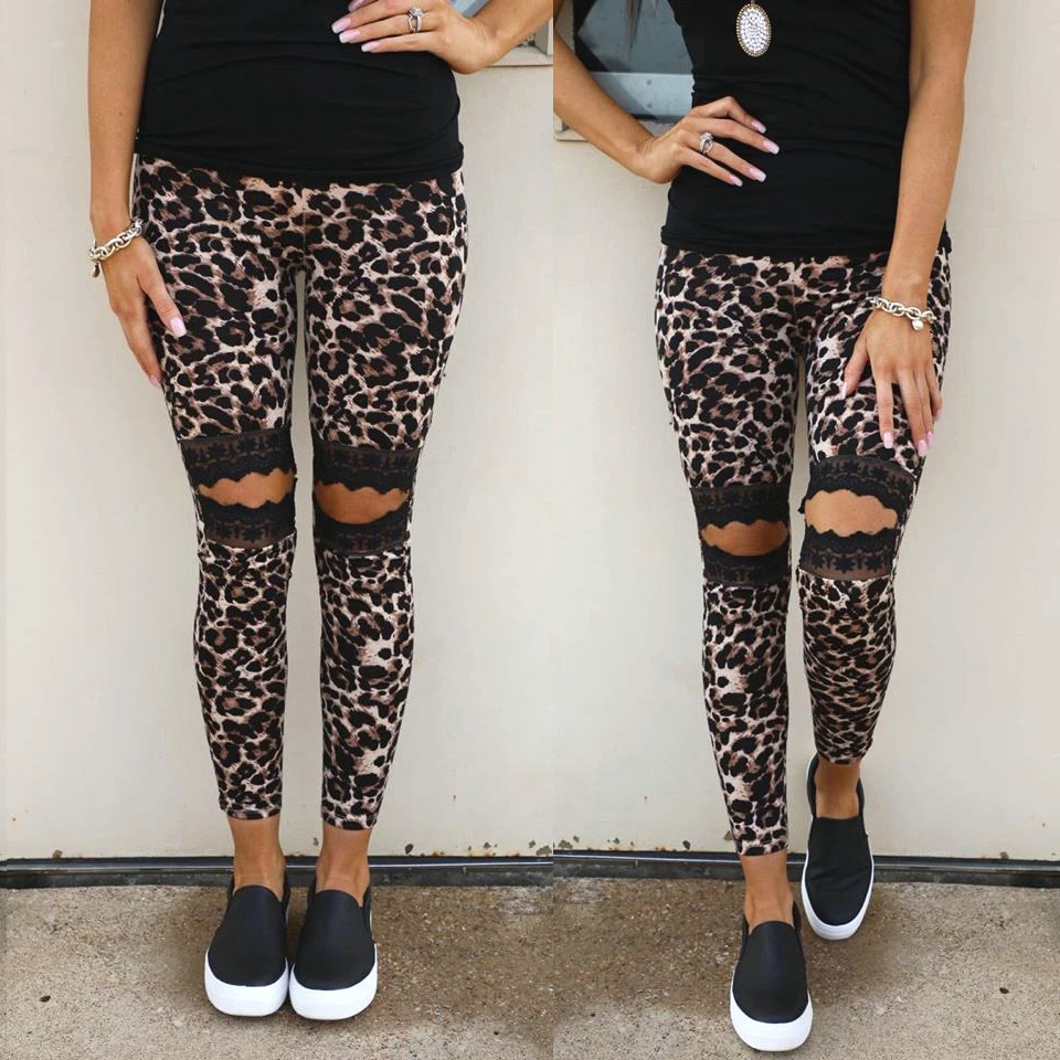 Sexy Leopard Print Leggings Women Summer Lace Patchwork Hollow Out Casual Long Pants Ladies Elastic High Waist Bodycon Trousers