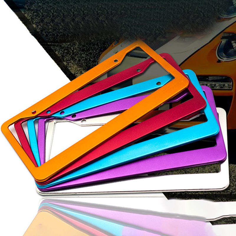 Colorful Universal Aluminum Alloy Car Styling License Plate Frames Tag Cover Screw Caps Tag Holder Auto Accessories