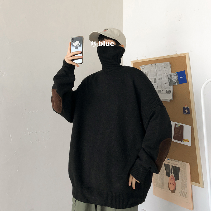 Winter Thick Sweater Men Warm Fashion Patch Casual Knitted Pullover Man Streetwear Wild Loose Long-sleeved Sweater Male Clothes
