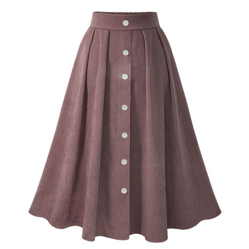WOMEN'S Skirt New Style, 2020 Spring Solid Color A- Line Skirt, High-waisted Single Breasted Slim Fit Big Hemline Skirt high waisted metal embellished chiffon skirt