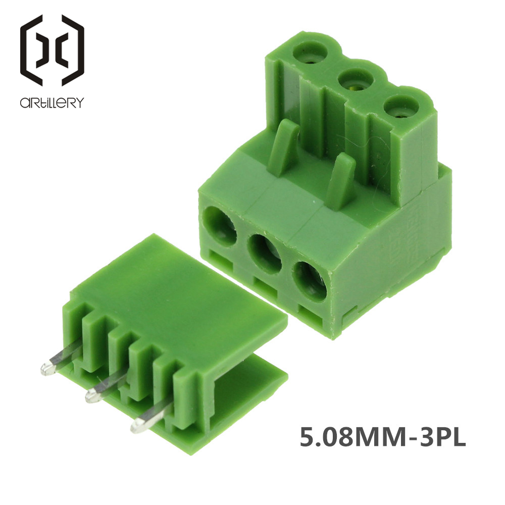 10Set 3Pin PCB Electrical Universal Plug Right Angle 300V 10A 5.08mm Pitch Connector Screw Terminal Block Pin Header And Socket