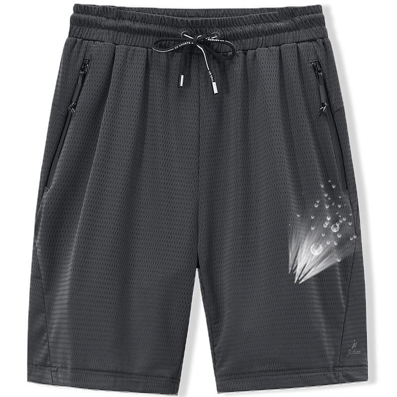 Large Men's Shorts Mesh Elastic Summer Breeches 8XL 6XL Big Size Clothing Nylon Black Grey Spandex Sweat Shorts Plus Size Shorts