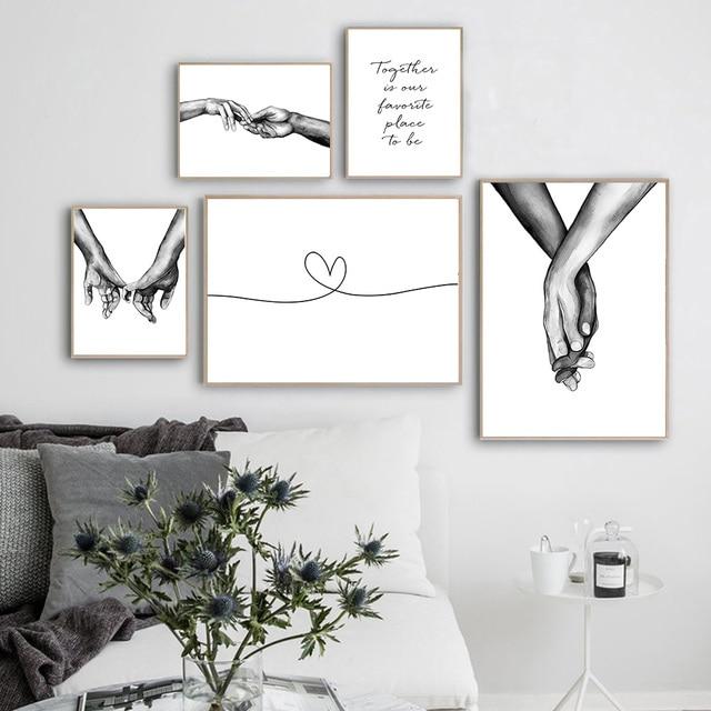 Romantische Hand In Hand Canvas Schilderij Zwart Wit Wall Art Poster Print Nordic Mode Foto Koppels Liefhebbers Kamer Decoratie 2
