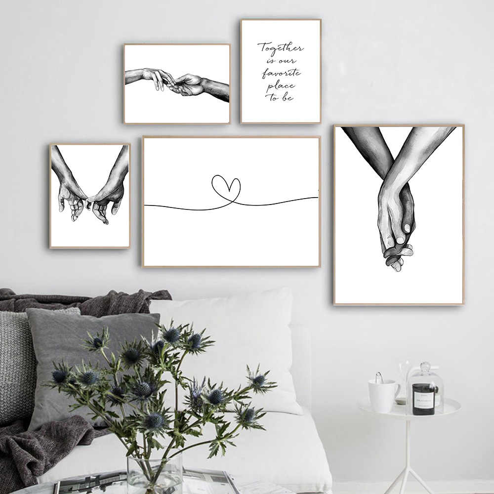 Black White Wall Art Poster Couples Canvas Painting Nordic Romantic Home Decor Garden