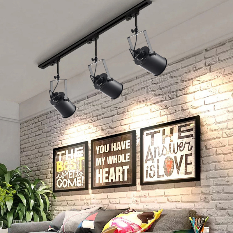 Retro E27 LED Track Light Wall Or Ceiling Mount Industrial Spotlight Rail Lamp For Barn Gallery Clothes Shop Store Spot Lighting