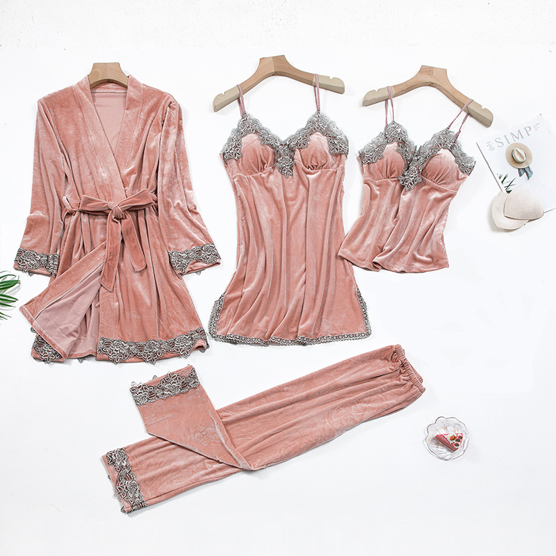 2020 Gold Velvet 4 Pieces and 5 Pieces Warm Winter Pajamas Sets Women Sexy Lace Robe Pajamas Sleepwear Kit Sleeveless Nightwear 7
