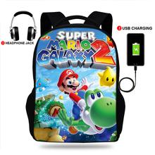 Chłopcy i dziewczęta Super Mario Print wielofunkcyjny plecak USB ładowanie torby szkolne dla nastolatków kobiety mężczyźni plecak na laptopa torby podróżne tanie tanio BULEFLYER polyeser Unisex Miękka 36-55 litr Wnętrze slot kieszeń Kieszeń na telefon komórkowy Wewnętrzna kieszeń