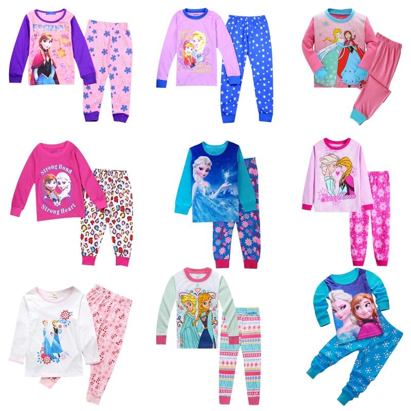 New Kids Frozen Anna Elsa Princess Series Pajamas Sets Baby Girls Boys Clothes Pijamas Cartoon Long Sleeve Tshirt+Pants 2pcs/set