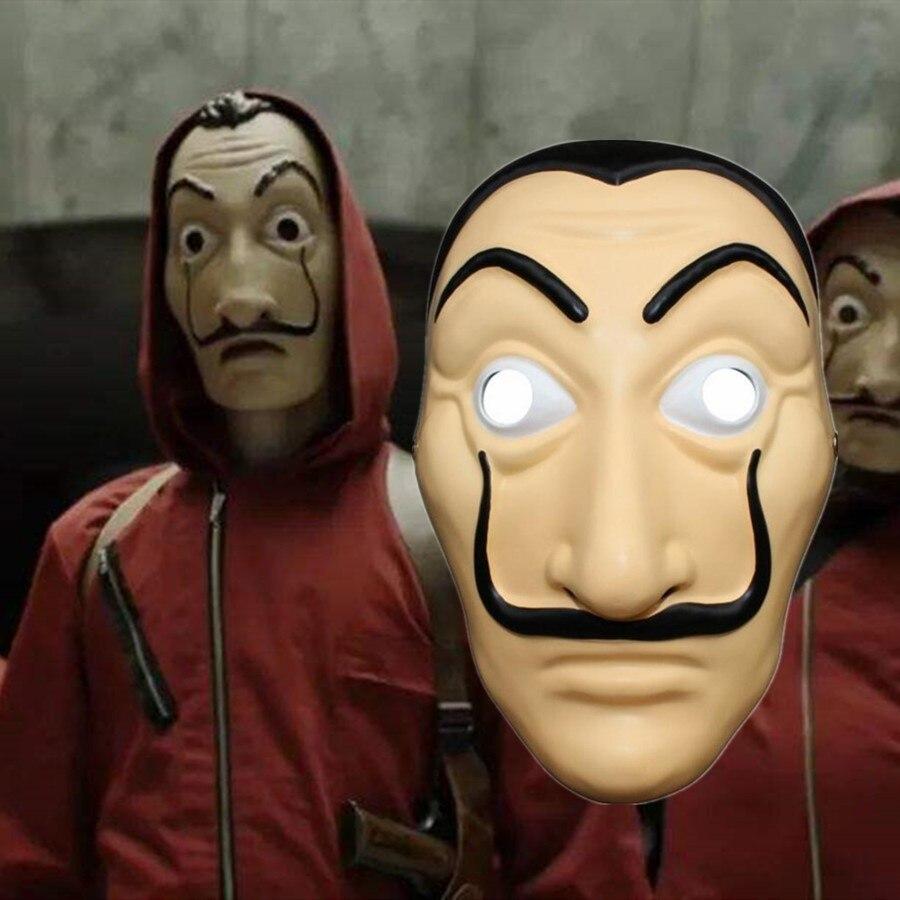 La casa de papel mascarilla Dali mascarilla dinero hist Cosplay Props Halloween fiesta máscaras de plástico