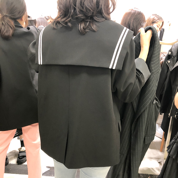 2019 Korean Blazer Elegant Women Vintage Blazers Preppy Style Loose Splice Pockets Button Women Coats Female White Black Blazers 5