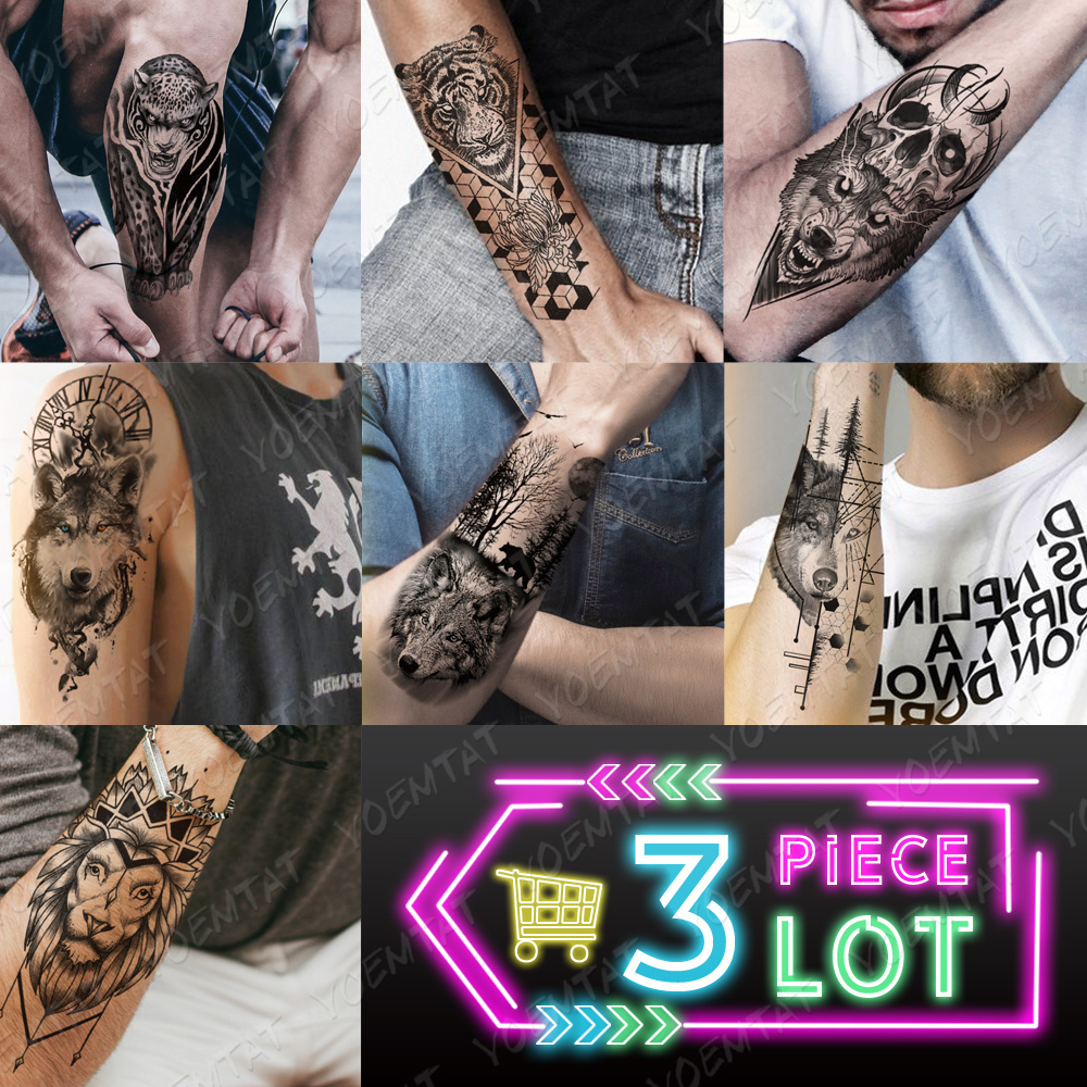 3 Pcs/lot Waterproof Temporary Tattoo Sticker Clock Eyes Wolf Flash Tattoos Lion Compass Body Art Arm Fake Tatoo Women Men