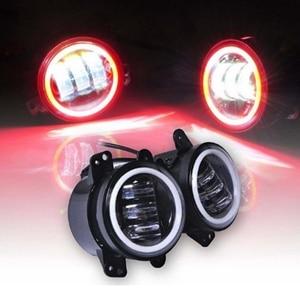 Image 3 - 2PCS 4Inch Round Led Fog Lights 30W 6000K White Halo Ring DRL Off Road Fog Lamps For Jeep Wrangler JK TJ LJ Grand Cherokee lada