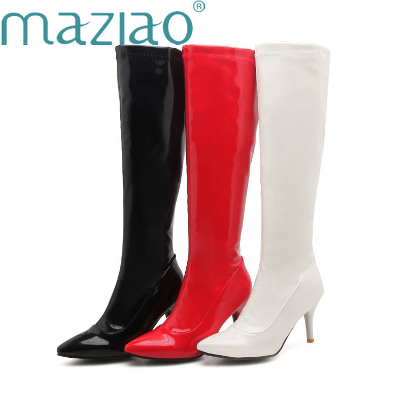 Women Knee-High Boots Sexy Fetish Dance Nightclub Party Shoes Patent Leather High Heel Zipper Women Boots Plus size 32-48 MAZIAO