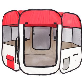 """57"""" Portable Folding 600D Oxford Cloth and Mesh Pet Playpen Breathable Fence with Eight Panels 59cm*94cm Red Pet Tent 40E"""