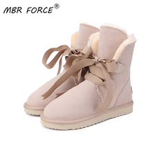 MBR FORCE New Top Quality Fashion Women Snow Boots Genuine Leather Winter Boots  Warm Women Boots 12 Colour shoes US 3-13
