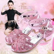 цена на SKHEK Girls high-heeled shoes springautumn new crystal dance shoes princess show little girls show shoes