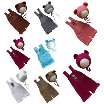 Nowa dzianinowa czapka dla niemowląt noworodka śliczna odzież do zdjęć rekwizyty czapka dziecięca chłopcy dziewczęta ręcznie tkane moherowe misie pajacyki + kapelusz garnitur