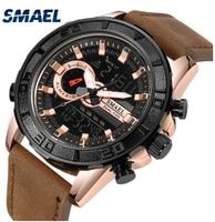 SMAEL Top Esporte Marca de Luxo À Prova D' Água Pulseira de Relógio de Quartzo de Couro Relógio de Pulso Masculino Relógio Masculino presentes para homens|Relógios de quartzo| |  -